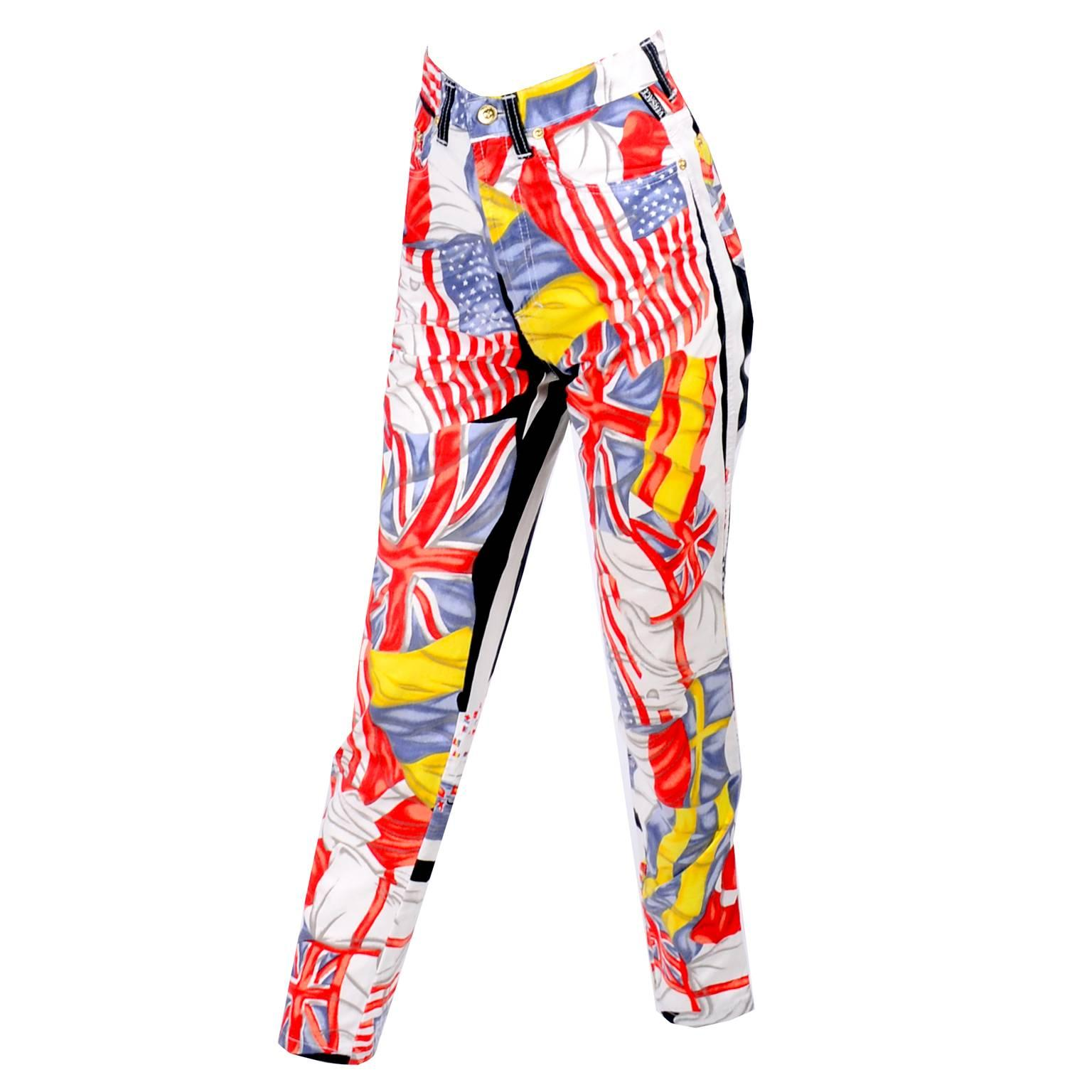 d13847cef4036 Rare Vintage Gianni Versace Jeans Couture Pants W Novelty Flag Print Size  26 XS at 1stdibs