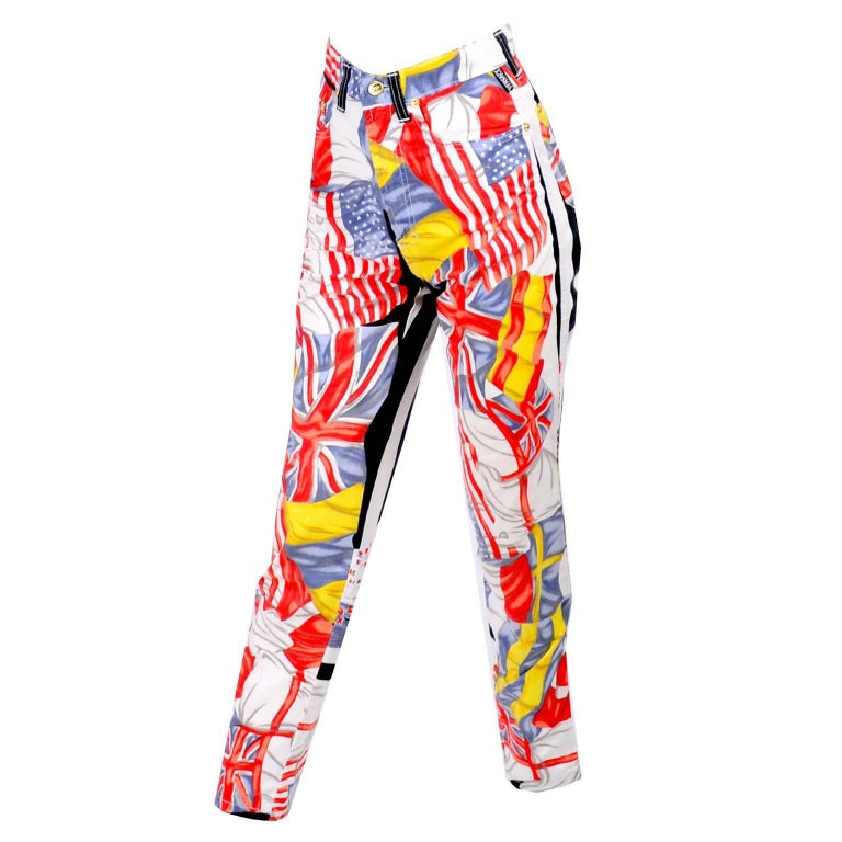 Rare Vintage Gianni Versace Jeans Couture Pants W Novelty Flag Print Size 26 XS