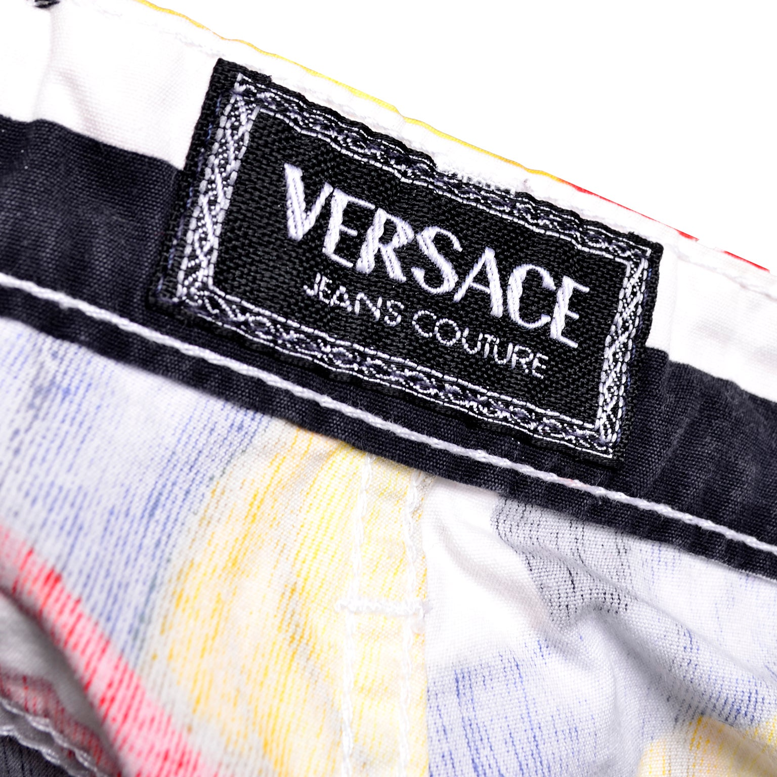 cd01bf2d0e09 Rare Vintage Gianni Versace Jeans Couture Pants W Novelty Flag Print Size  26 XS at 1stdibs