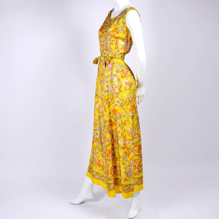 1970s Sea Isle Fashions Vintage Orange Pink & Yellow Palazzo Pant Jumpsuit  In Excellent Condition For Sale In Portland, OR
