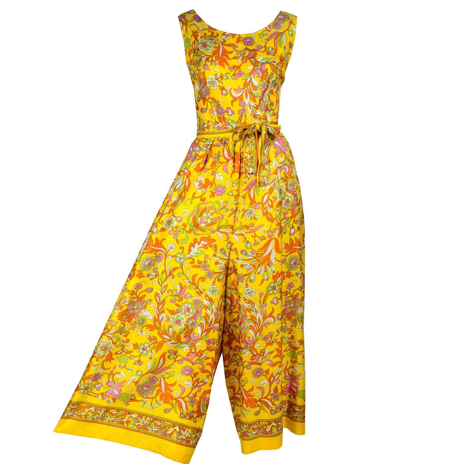 1970s Sea Isle Fashions Vintage Orange Pink & Yellow Palazzo Pant Jumpsuit