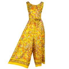 1700e165208 1970s Sea Isle Fashions Vintage Orange Pink   Yellow Palazzo Pant Jumpsuit