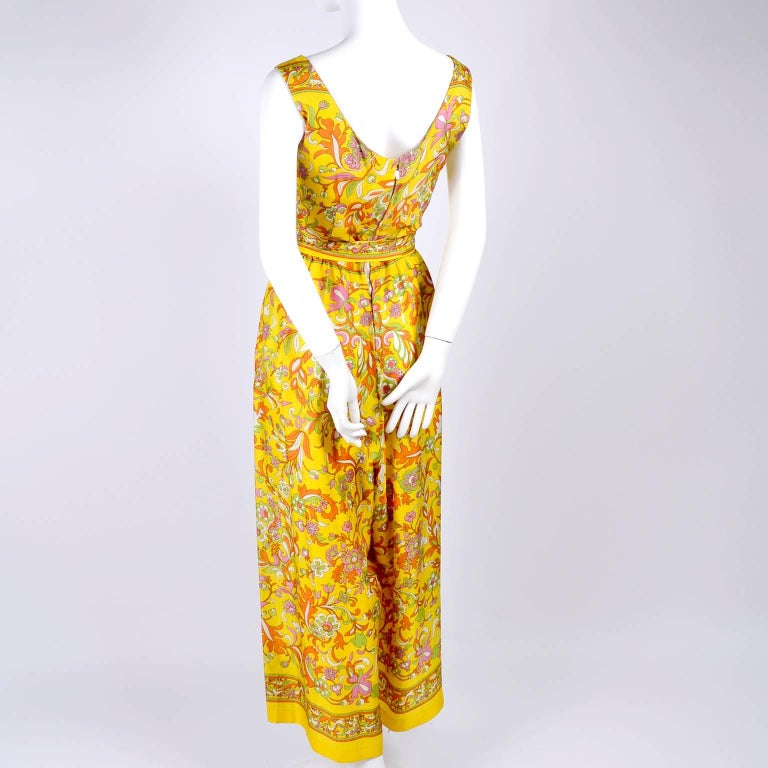Women's 1970s Sea Isle Fashions Vintage Orange Pink & Yellow Palazzo Pant Jumpsuit  For Sale