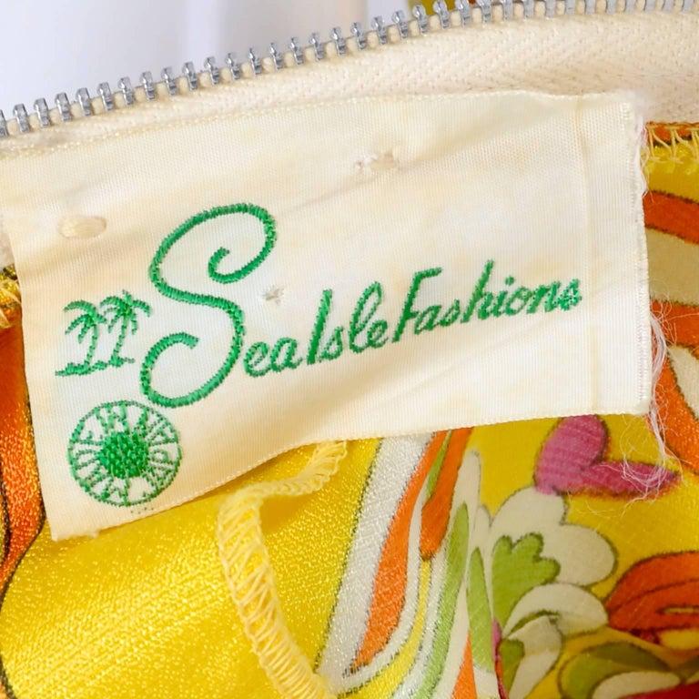 1970s Sea Isle Fashions Vintage Orange Pink & Yellow Palazzo Pant Jumpsuit  For Sale 2