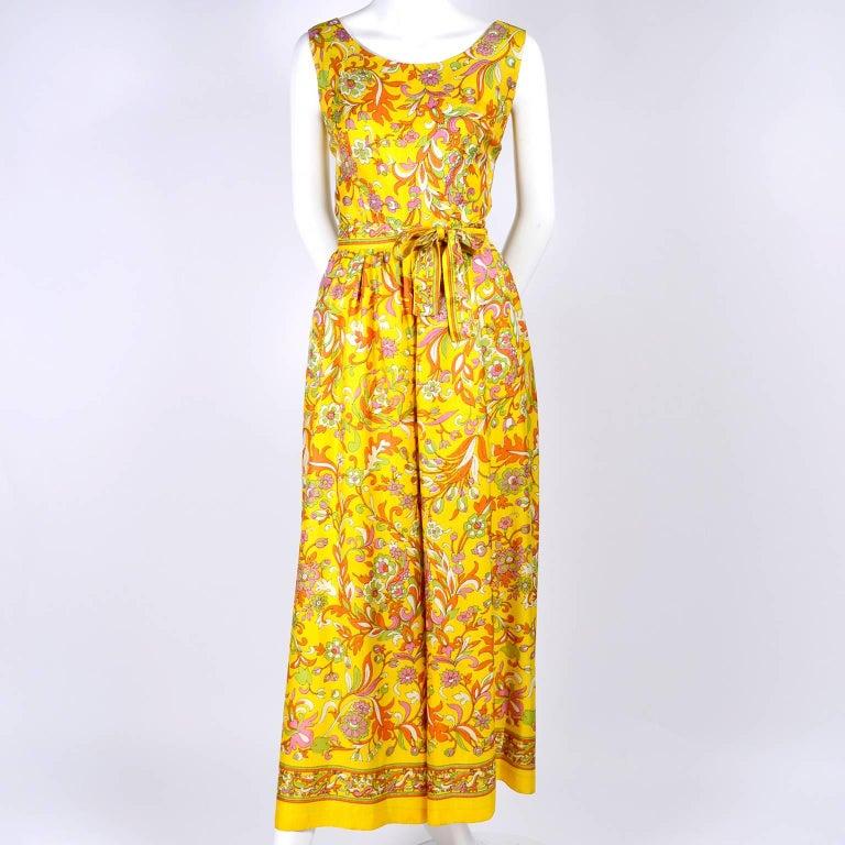 1970s Sea Isle Fashions Vintage Orange Pink & Yellow Palazzo Pant Jumpsuit  For Sale 1