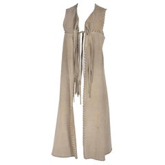 1970s Custom Original Bohemian Suede Long Vest With Laced Fringe