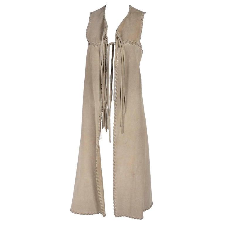 1970s Custom Original Bohemian Suede Long Vest With Laced Fringe