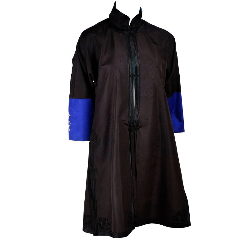 67559c323 Black Antique Chinese Silk Robe Jacket With Micro Crewel Embroidery & Turquoise  Lining For Sale