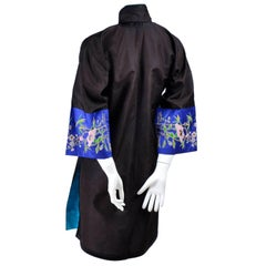 Antique Chinese Silk Robe Jacket With Micro Crewel Embroidery & Turquoise Lining