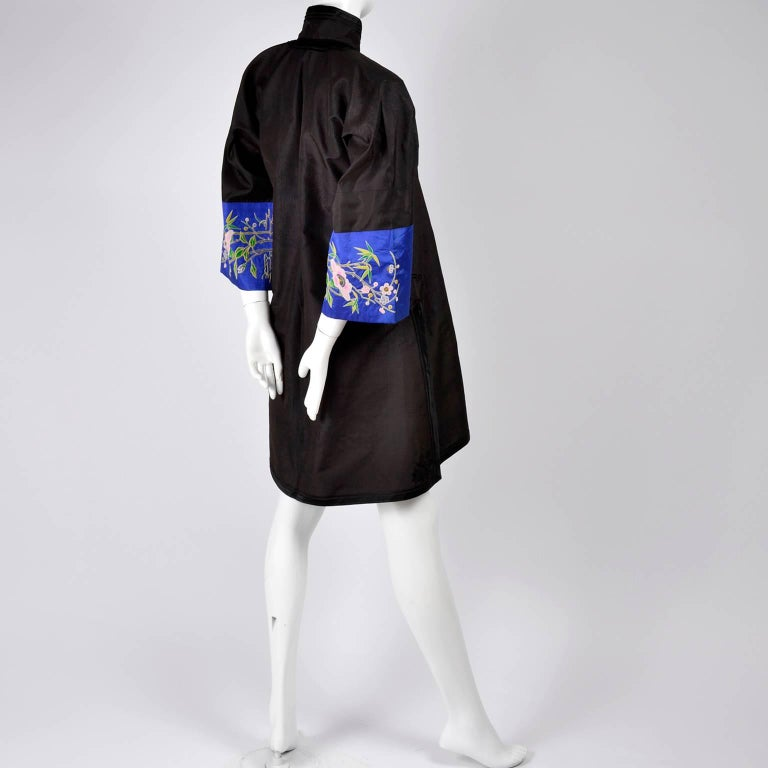 8f6cdd5d7 Antique Chinese Silk Robe Jacket With Micro Crewel Embroidery & Turquoise  Lining For Sale 1
