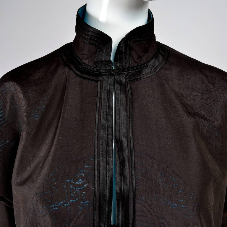 1be4e3ba7 Antique Chinese Silk Robe Jacket With Micro Crewel Embroidery & Turquoise  Lining For Sale 4