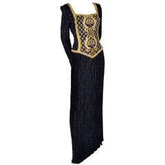 Beaded Mary McFadden Couture Black Dress w Gold Braid Sequins & Rhinestones