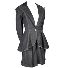 1980s Patrick Kelly Suit in Grayed Black Denim With Shorts & Peplum Jacket 4/6