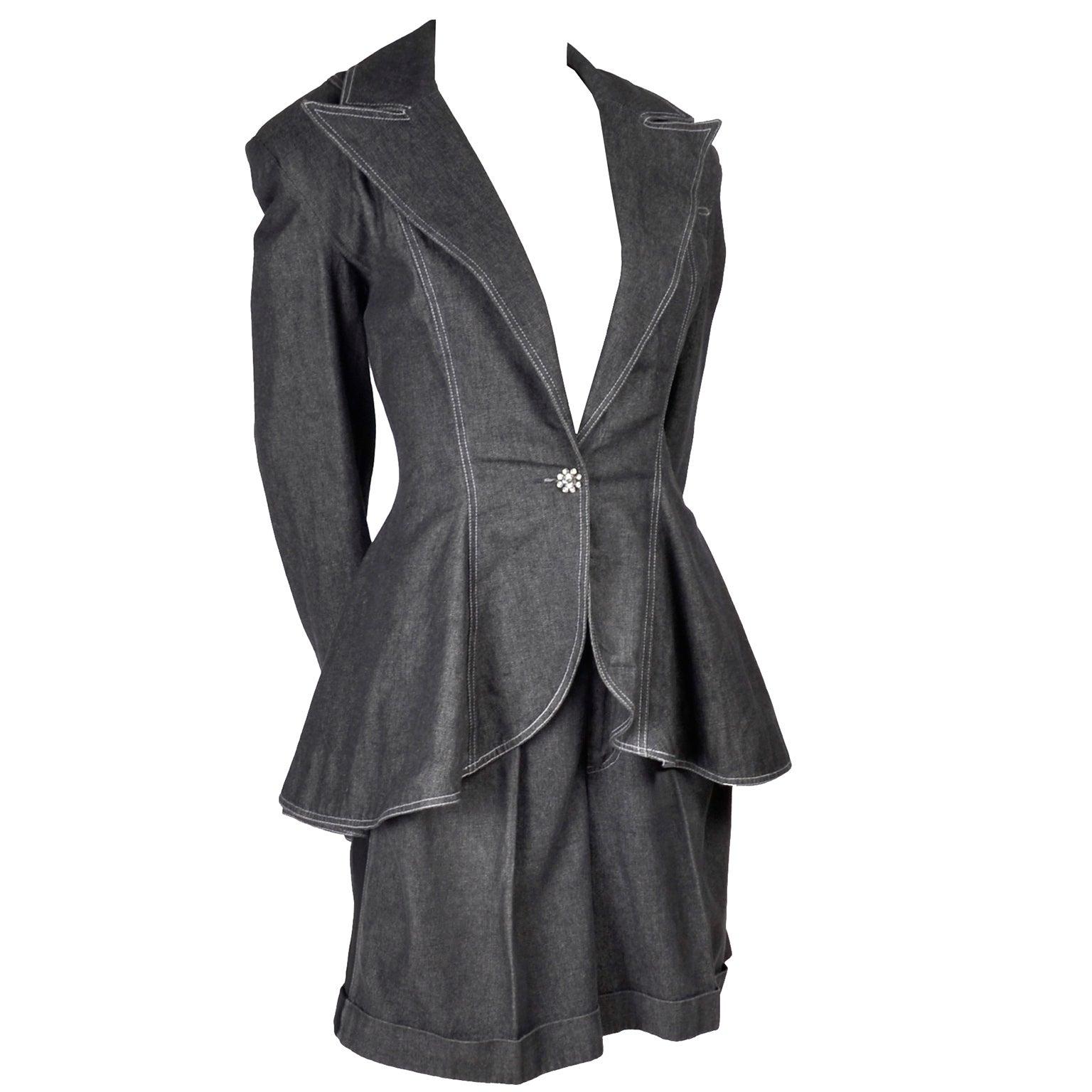 1980s Patrick Kelly Suit in Grayed Black Denim With Shorts & Peplum Jacket 4/6