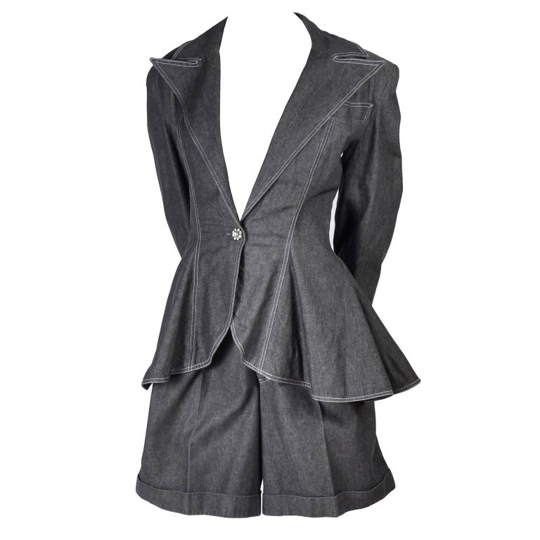 Women's 1980s Patrick Kelly Suit in Grayed Black Denim With Shorts & Peplum Jacket 4/6 For Sale