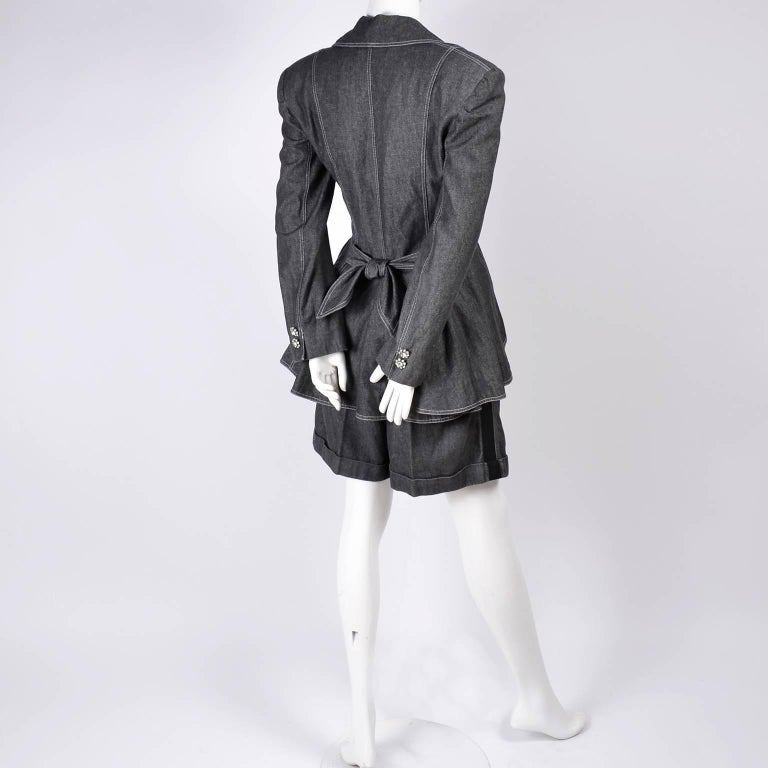1980s Patrick Kelly Suit in Grayed Black Denim With Shorts & Peplum Jacket 4/6 For Sale 4
