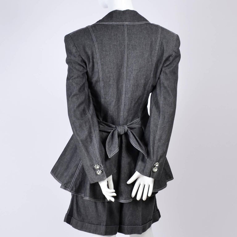 1980s Patrick Kelly Suit in Grayed Black Denim With Shorts & Peplum Jacket 4/6 For Sale 1