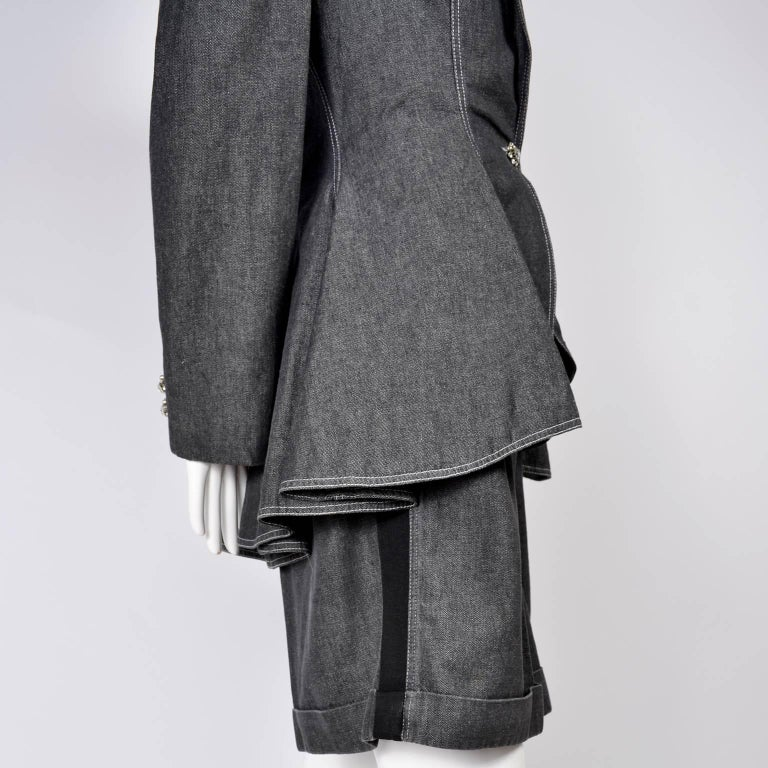 1980s Patrick Kelly Suit in Grayed Black Denim With Shorts & Peplum Jacket 4/6 For Sale 5