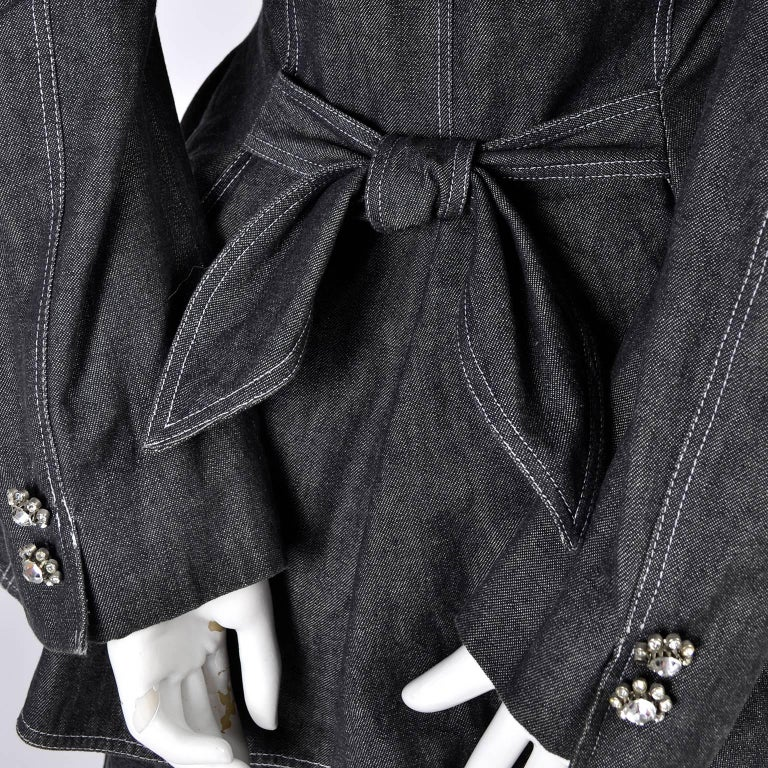 1980s Patrick Kelly Suit in Grayed Black Denim With Shorts & Peplum Jacket 4/6 For Sale 2