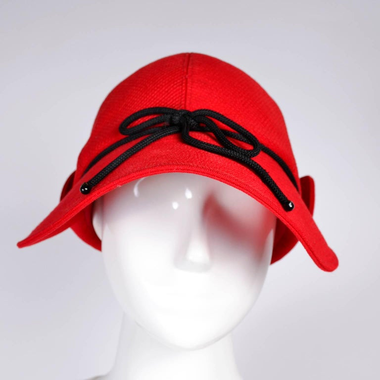 1970s Rare Yves Saint Laurent YSL Hat in Red with Black Trim In Excellent Condition For Sale In Portland, OR