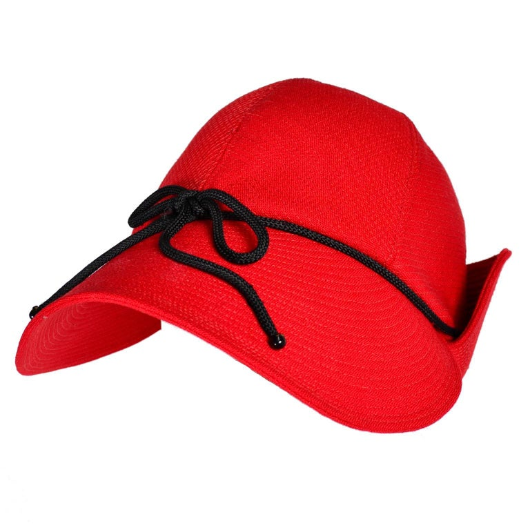 1970s Rare Yves Saint Laurent YSL Hat in Red with Black Trim