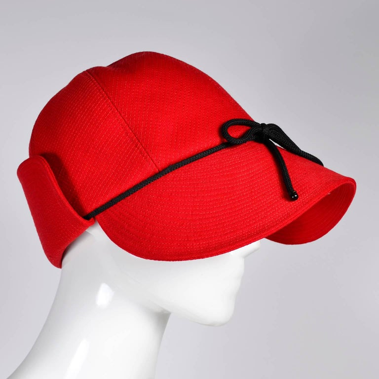 1970s Rare Yves Saint Laurent YSL Hat in Red with Black Trim For Sale 1