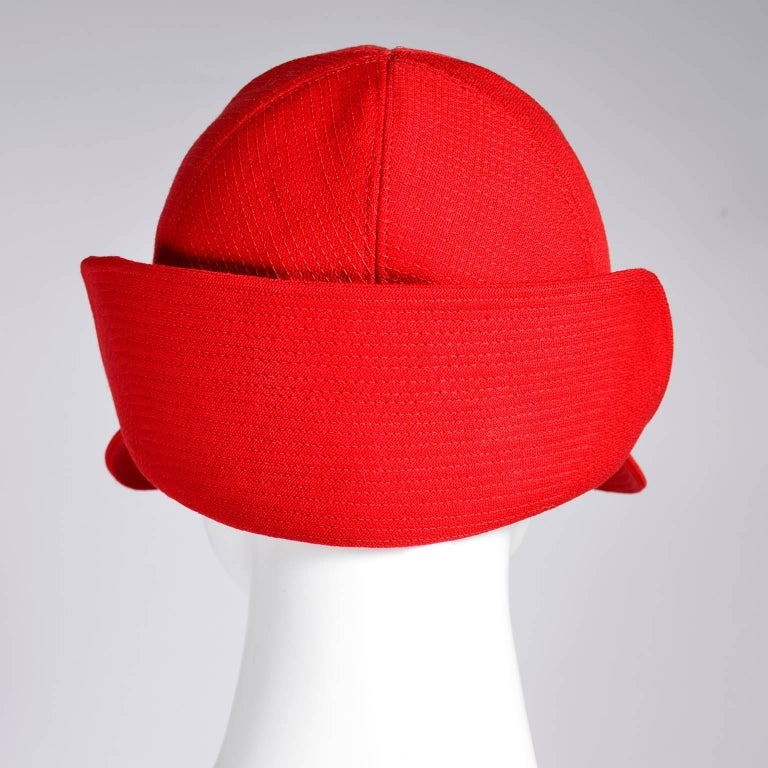 1970s Rare Yves Saint Laurent YSL Hat in Red with Black Trim For Sale 2
