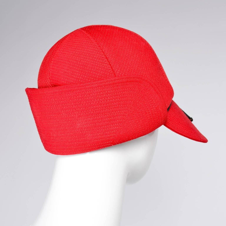 Women's 1970s Rare Yves Saint Laurent YSL Hat in Red with Black Trim For Sale
