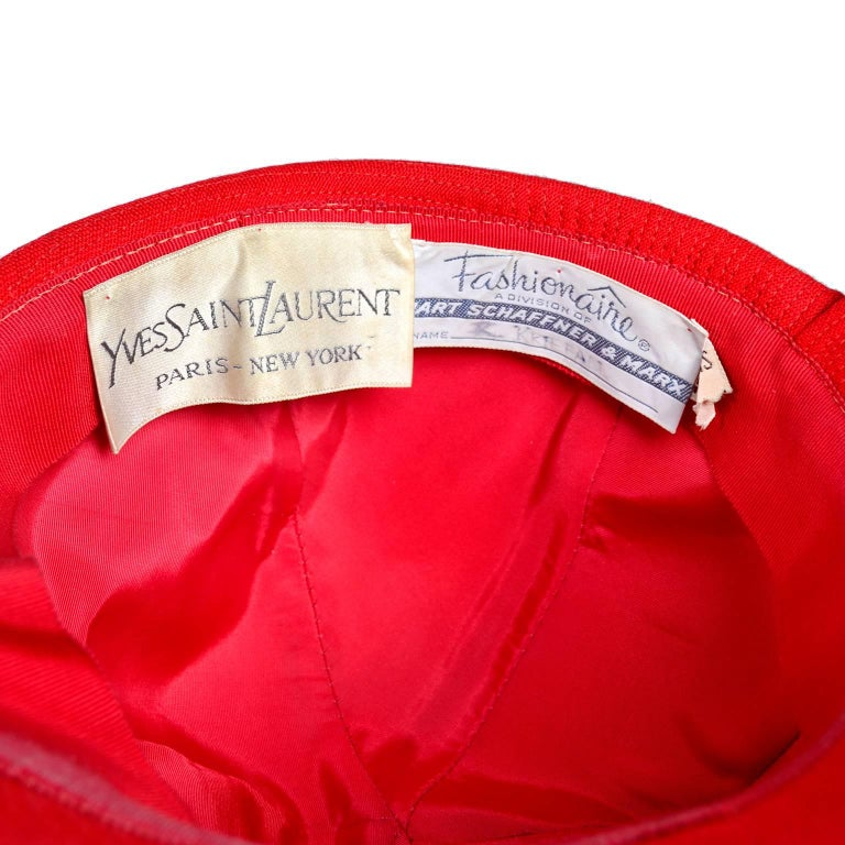 1970s Rare Yves Saint Laurent YSL Hat in Red with Black Trim For Sale 3