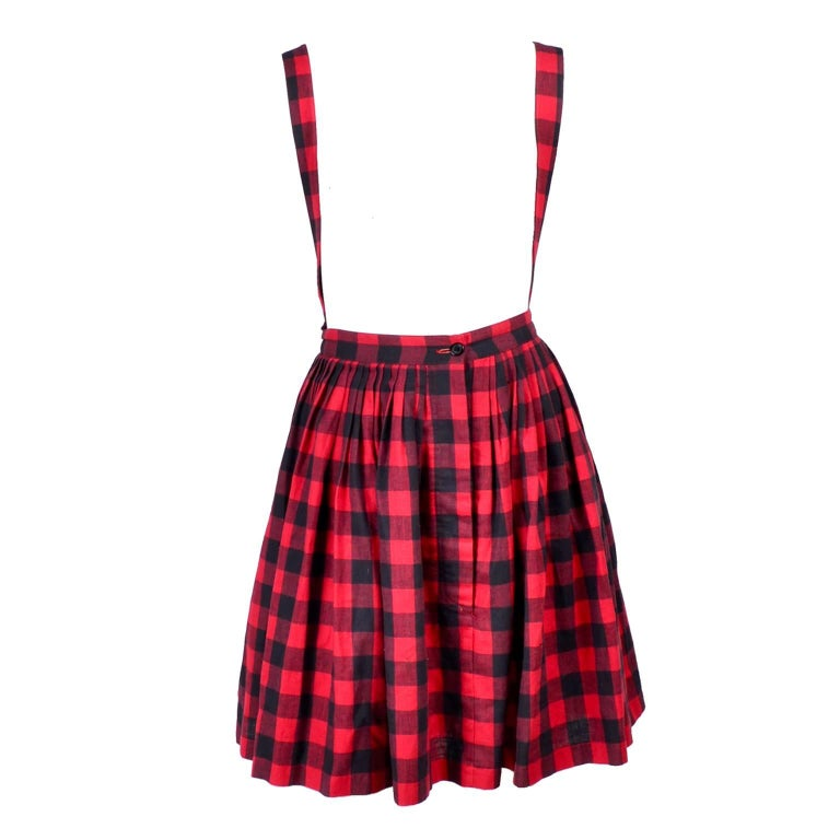 1980s Norma Kamali Vintage Black & Red Plaid Vintage Skirt Jumper w Suspenders