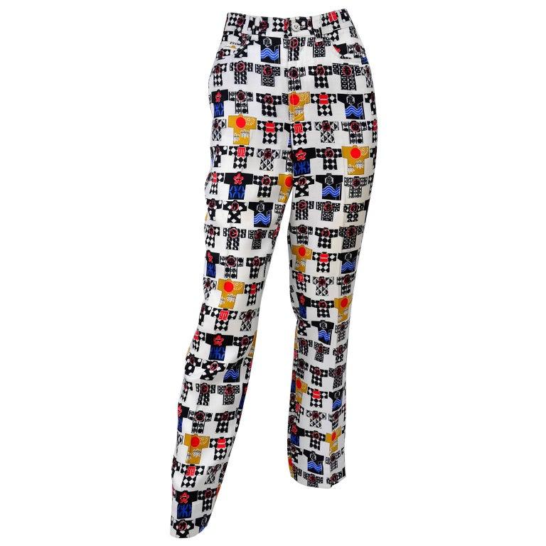 1990s Versace Jeans Couture Rayon Kimono Novelty Print High Waist Pants