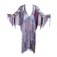 Rainbow Tiered Fringe Slip Dress with Matching Fringe Jacket or Sweater 2/4