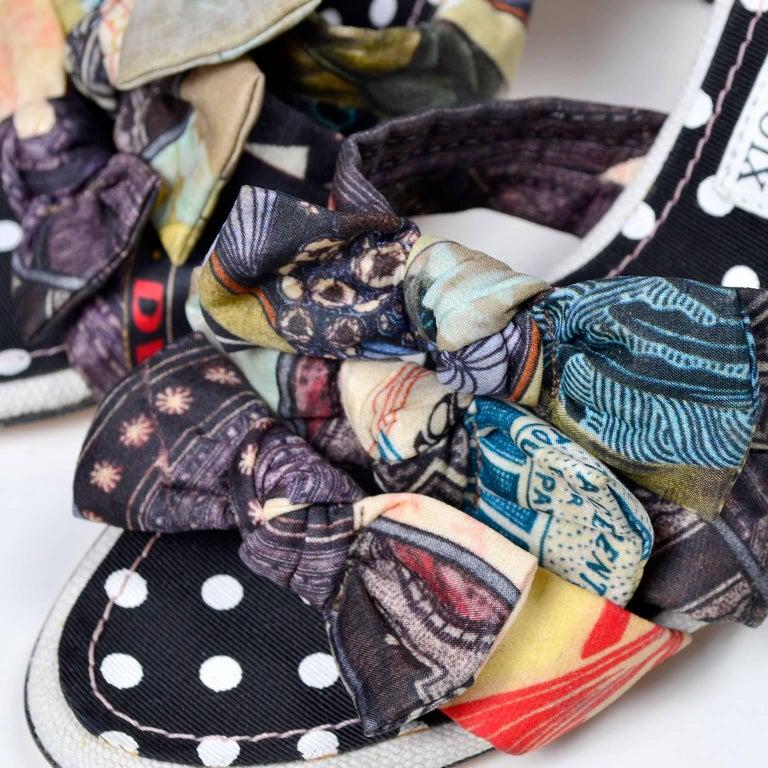 1368131d47a63 Vintage Christian Lacroix Multi Colored Fabric Bow Shoes 3.5