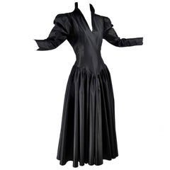 Vintage 1980s Norma Kamali Dress in Black Satin Taffeta With Sash Size 6