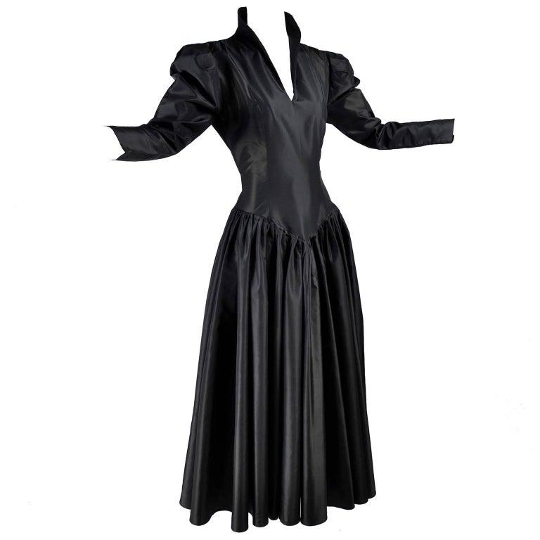 Vintage 1980s Norma Kamali Dress in Black Satin Taffeta With Sash Size 6