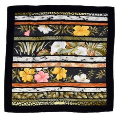 Salvatore Ferragamo Vintage Silk Scarf in Hibiscus Flower Calla Lily Print