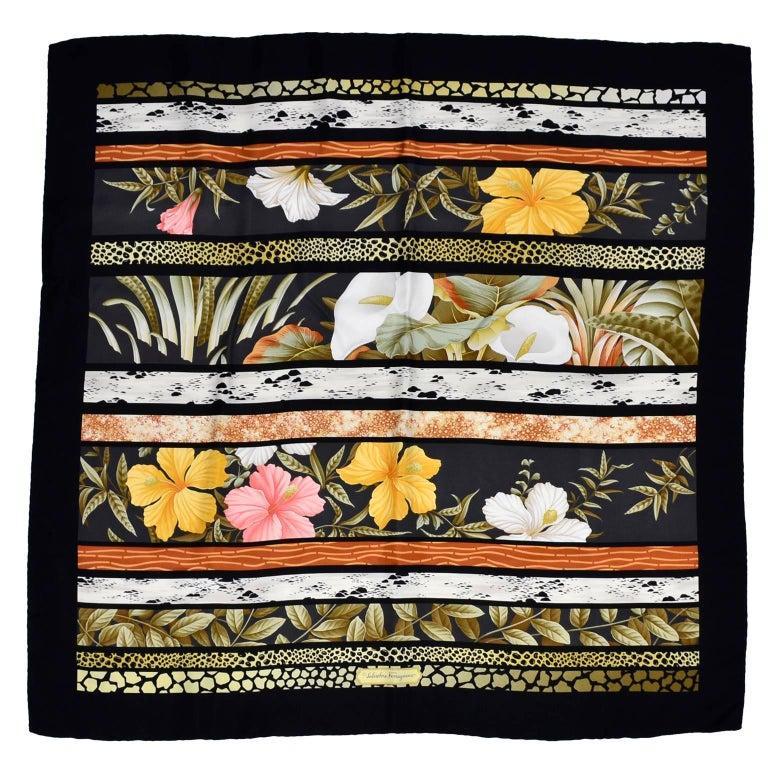 Salvatore Ferragamo Vintage Silk Scarf in Hibiscus Flower Calla Lily Print For Sale