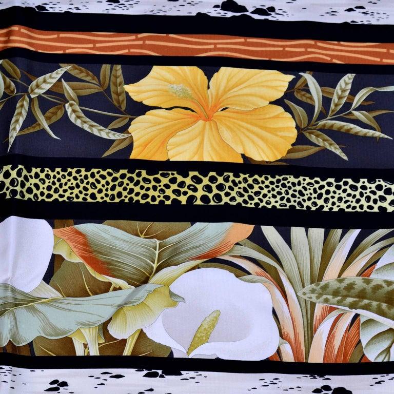Women's Salvatore Ferragamo Vintage Silk Scarf in Hibiscus Flower Calla Lily Print For Sale