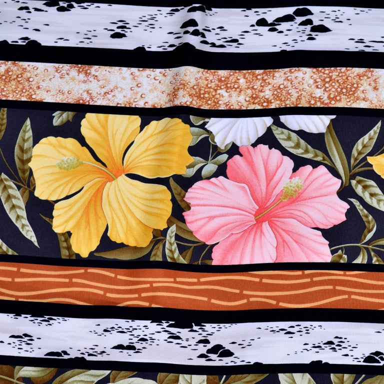 Salvatore Ferragamo Vintage Silk Scarf in Hibiscus Flower Calla Lily Print In Excellent Condition For Sale In Portland, OR