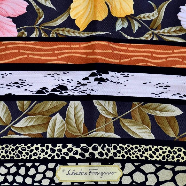 Black Salvatore Ferragamo Vintage Silk Scarf in Hibiscus Flower Calla Lily Print For Sale