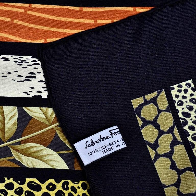 Salvatore Ferragamo Vintage Silk Scarf in Hibiscus Flower Calla Lily Print For Sale 1