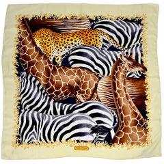Vintage Salvatore Ferragamo Silk Scarf in Giraffe Zebra Leopard Print Pattern