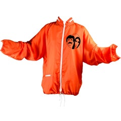Original 1971 Sonny & Cher Comedy Hour TV Show Vintage Crew Jacket Orange Nylon