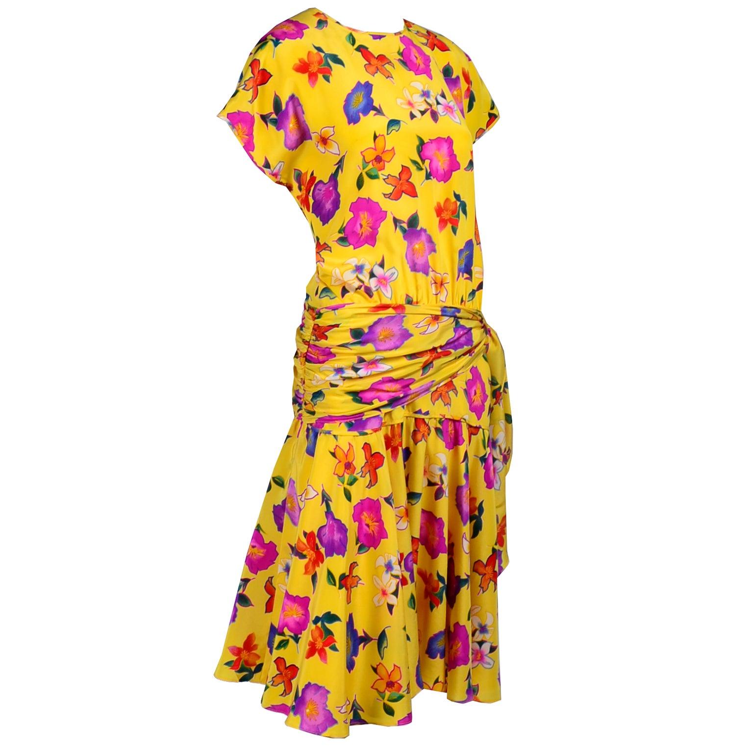 1980s Silk Escada Dress in Yellow Floral Silk Print by Margaretha Ley Size 8/10