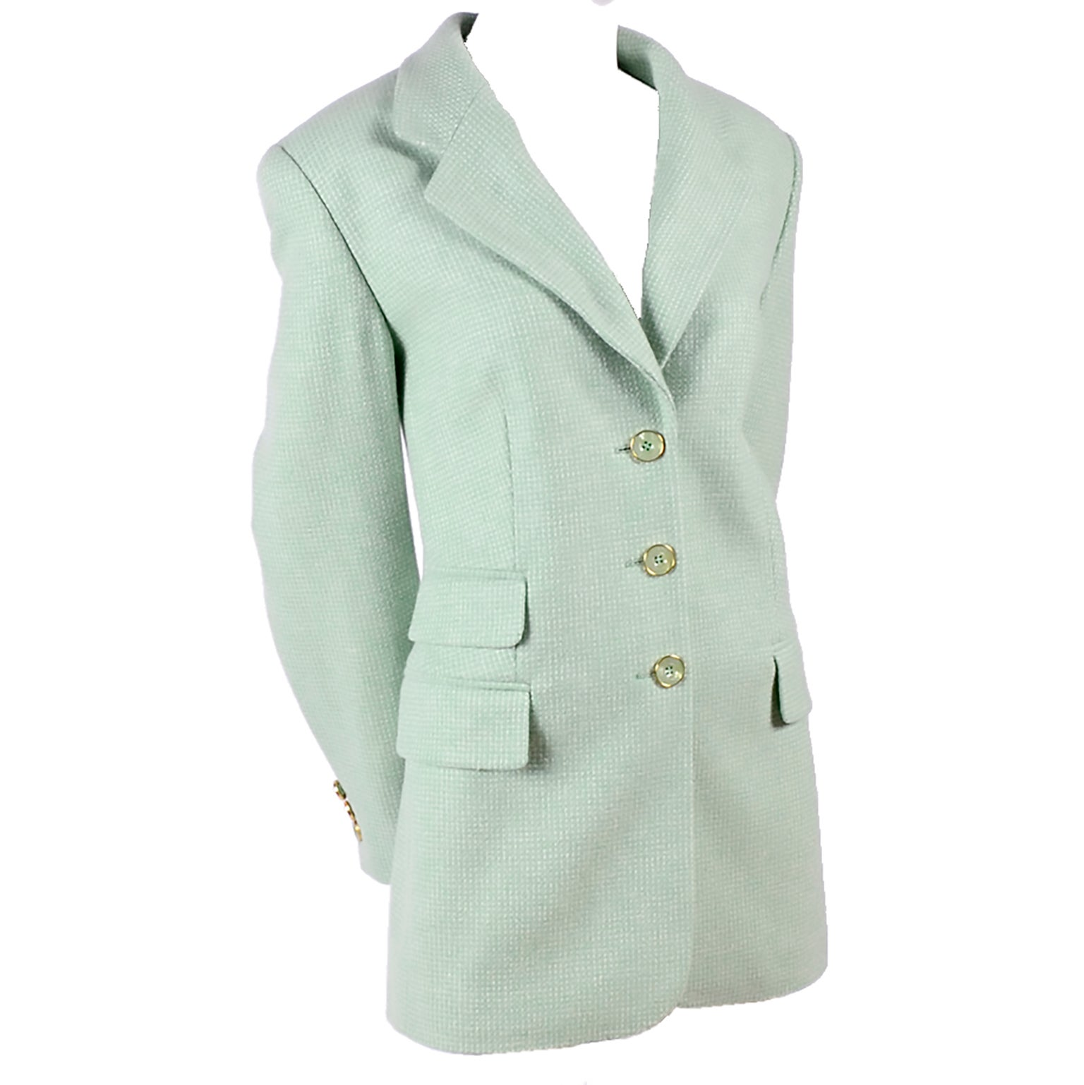Escada Margaretha Ley Green Cashmere Blazer Jacket in Size 8