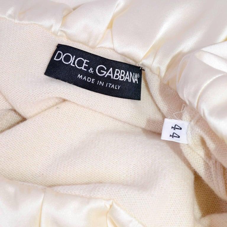 Dolce & Gabbana Cream Cashmere & Silk Off Shoulder Sweater Top Size 44  5