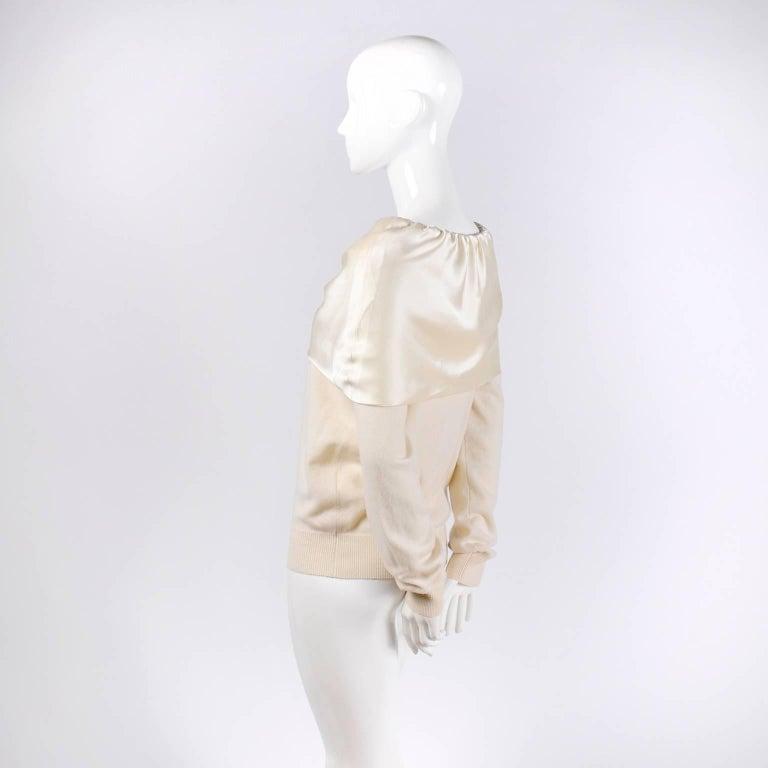 White Dolce & Gabbana Cream Cashmere & Silk Off Shoulder Sweater Top Size 44