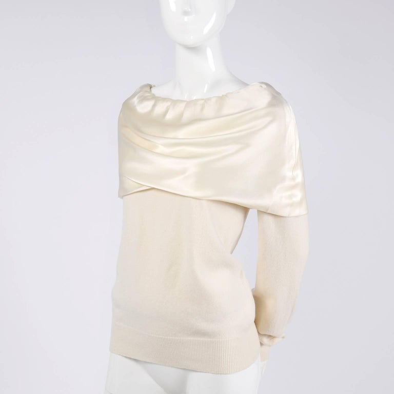 Dolce & Gabbana Cream Cashmere & Silk Off Shoulder Sweater Top Size 44  In Excellent Condition In Portland, OR