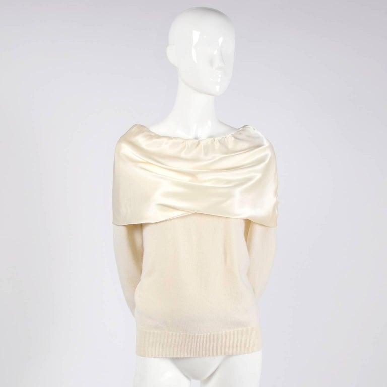 Women's Dolce & Gabbana Cream Cashmere & Silk Off Shoulder Sweater Top Size 44