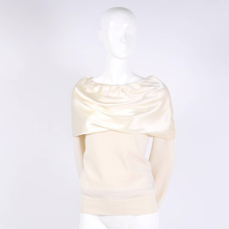 Dolce & Gabbana Cream Cashmere & Silk Off Shoulder Sweater Top Size 44  1
